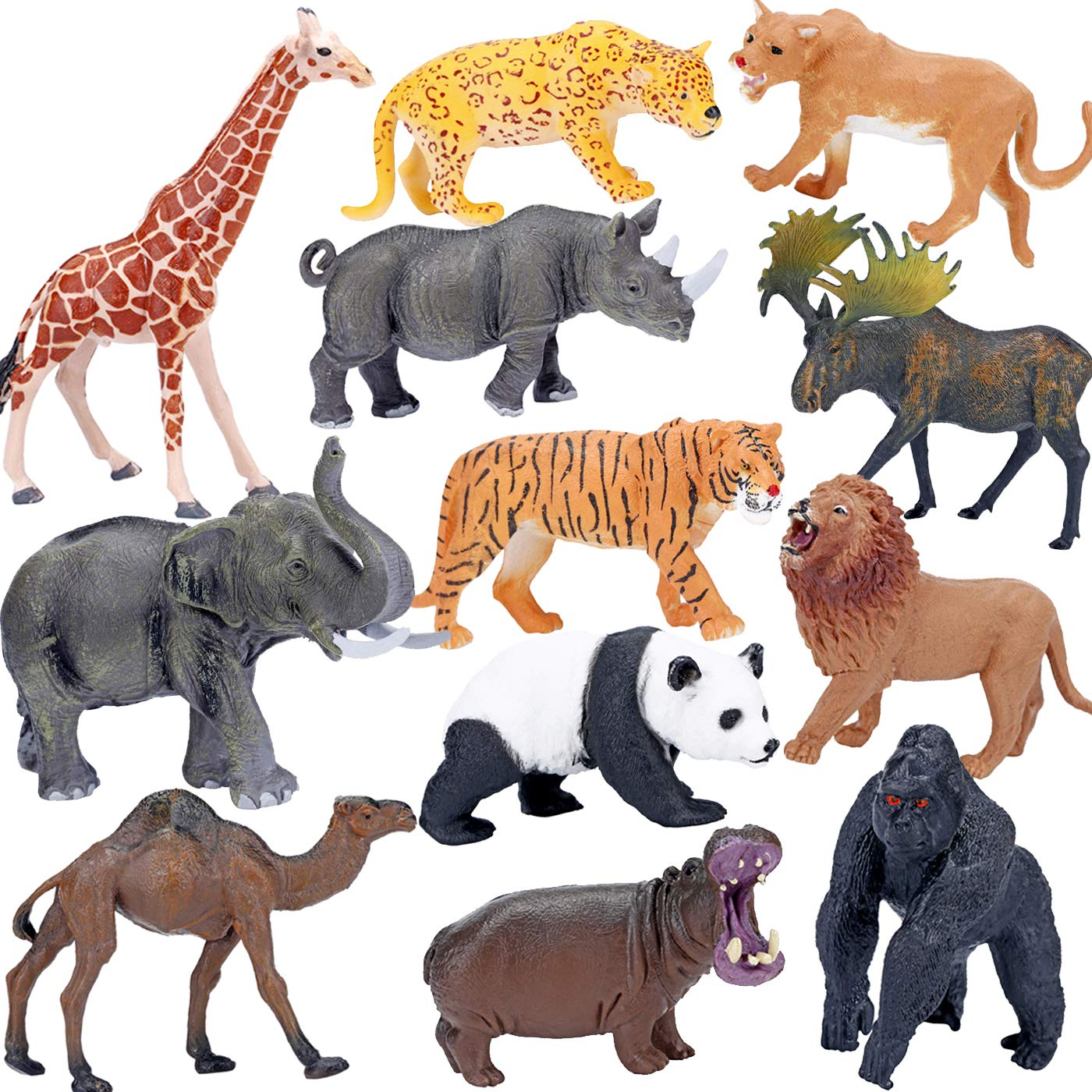 Pack of Plastic Zoo Wild Animals Insects Model Toy Kids Education Model Figures