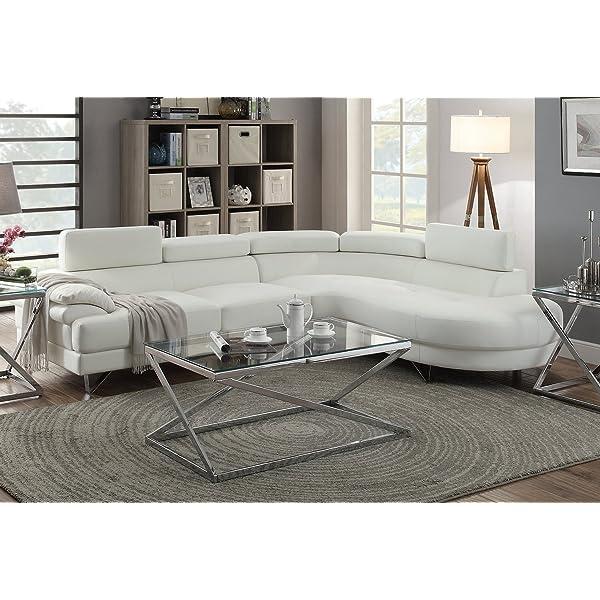 Poundex F6985 Bobkona Isidro Faux Leather sectional, White