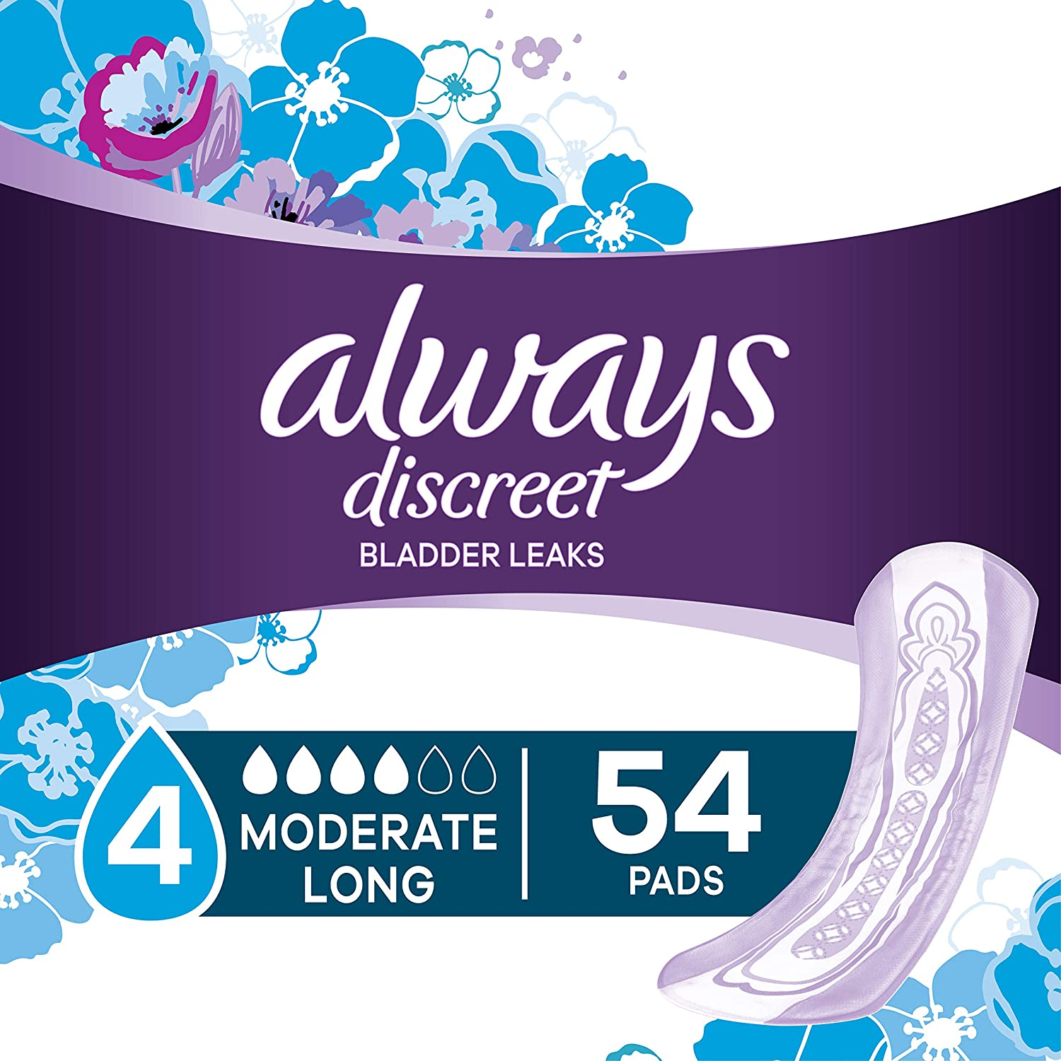 Always Discreet Incontinence Pads for Women, Moderate Absorbency, Long Length, 54 Count: Health & Personal Care
