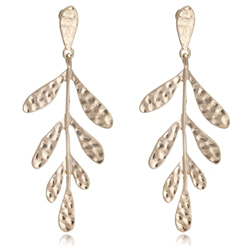 feef9c2e48b3 Amazon.com  Vintage Matisse Coral Leaves Design Statement Earrings for Women   Jewelry