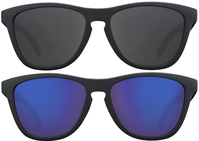 Original La Optica Verspiegelte UV400 Unisex Sonnenbrille Schmetterling Style - Farben, Einzel-/Doppelpacks (Einzelpack Rubber Schwarz (Gläser: Blau verspiegelt))