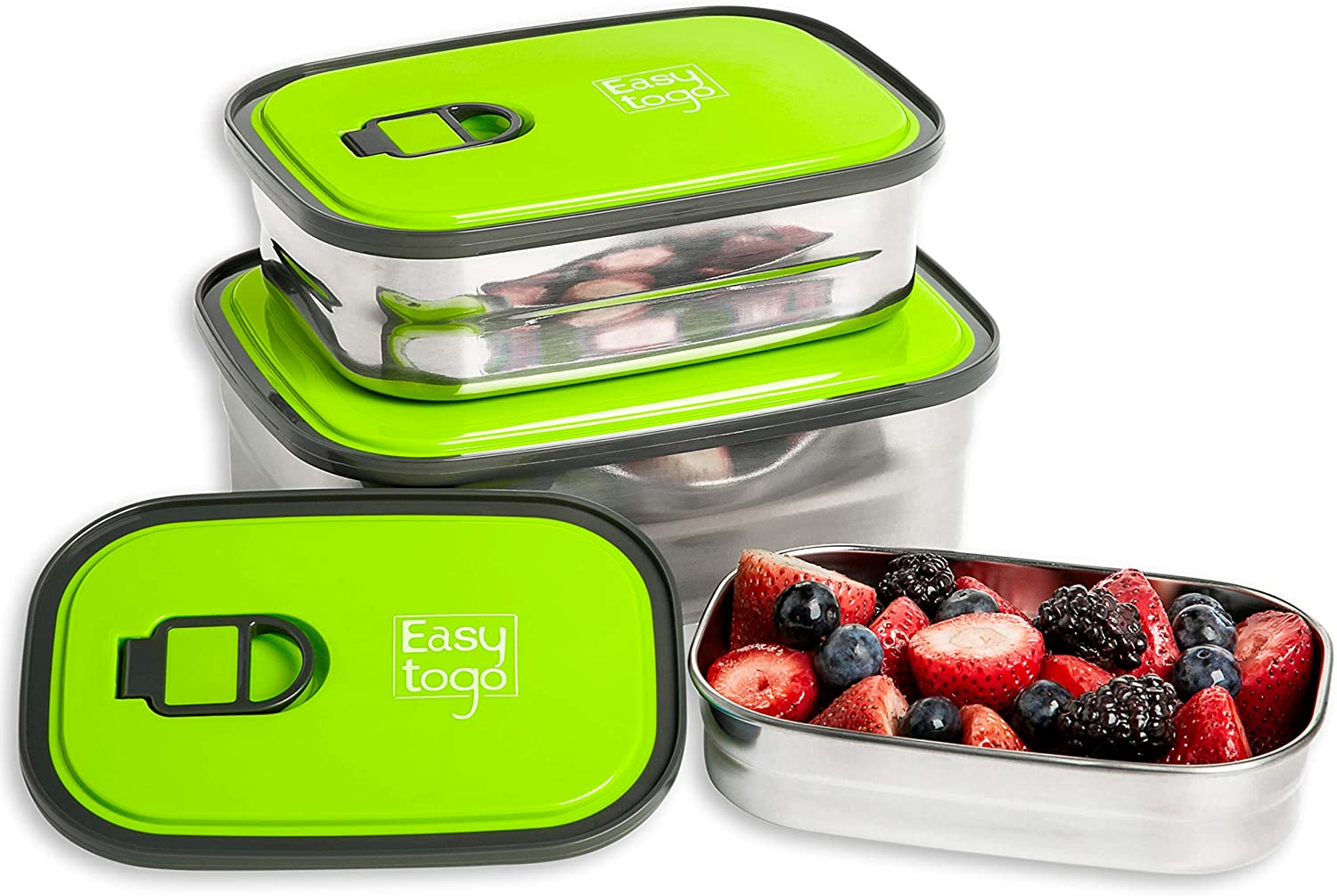 Leak Proof Bento Lunch Box Set | Reusable 3 Pack | Nesting Stainless Steel Metal Storage Food Containers for Men Women or Kids ?BPA Free? Work / School LunchesStainless Durable Sandwich Box (Green)