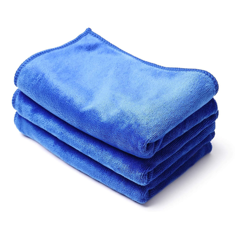 Sanleaves 洗車タオル マイクロファイバークロス 最優秀製品賞 3枚セット 洗車グッズ (40cm x 50cm)