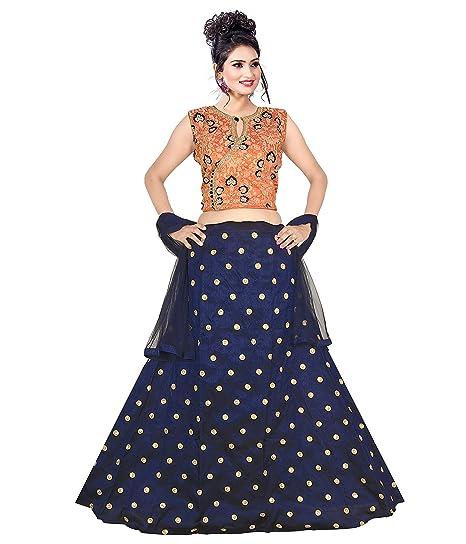 M Satish Creation Phantom Silk Women Stitched Crop Top Lehenga Choli Suit Blue Size L Amazon In Clothing Accessories