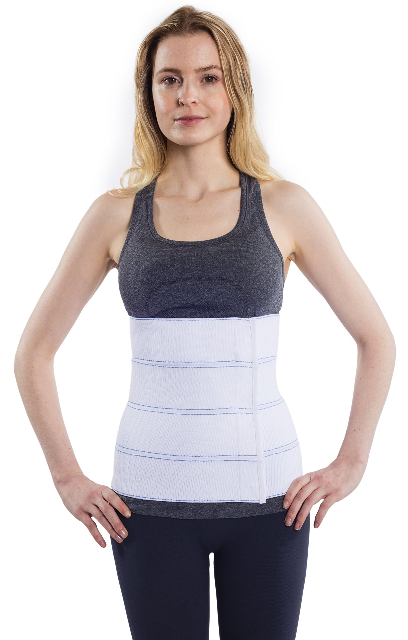 NYOrtho Abdominal Binder Lower Waist Support Belt - Compression Wrap for Men and Women (30'' - 45'') 4 Panel - 12''