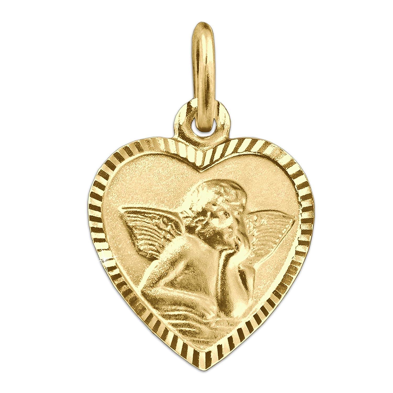 CLEVER SCHMUCK Goldener Anhä nger Herz 11 x 10 mm schmal mit Engel klassisch seidenmatt Rand glä nzend diamantiert Rü ckseite Gott schü tze Dich 333 Gold 8 Karat ahg426(d)