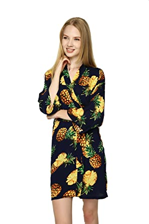 3eb75b9766 ... finest selection ee320 c7ec6 Zarachilable Women Cotton Pineapple Floral  Robe bride robe bridesmaid kimono Robe