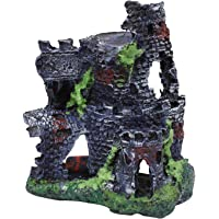 Foodie Puppies Haunted Resin Old Fort Tower for Aquarium Decoration