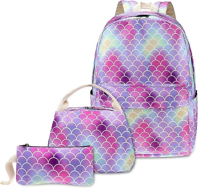 Sirena Arco Iris Mochilas Escolares Juveniles para Niñas con Bolsa de Almuerzo y Estuche - Rosado: Amazon.es: Equipaje