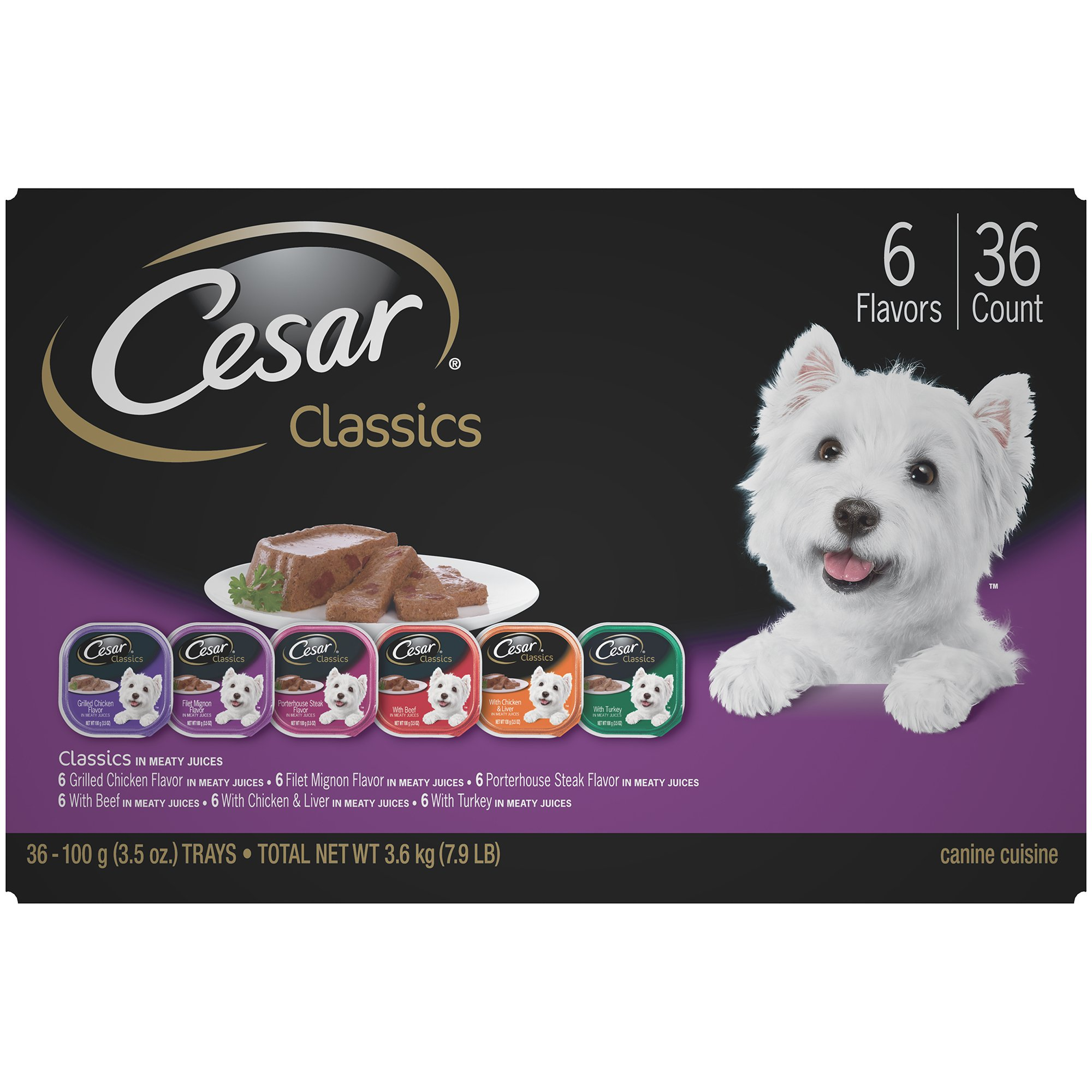 CESAR Classics Adult Wet Dog Food Variety Pack Trays 3.5 Ounces (Pack of 36)