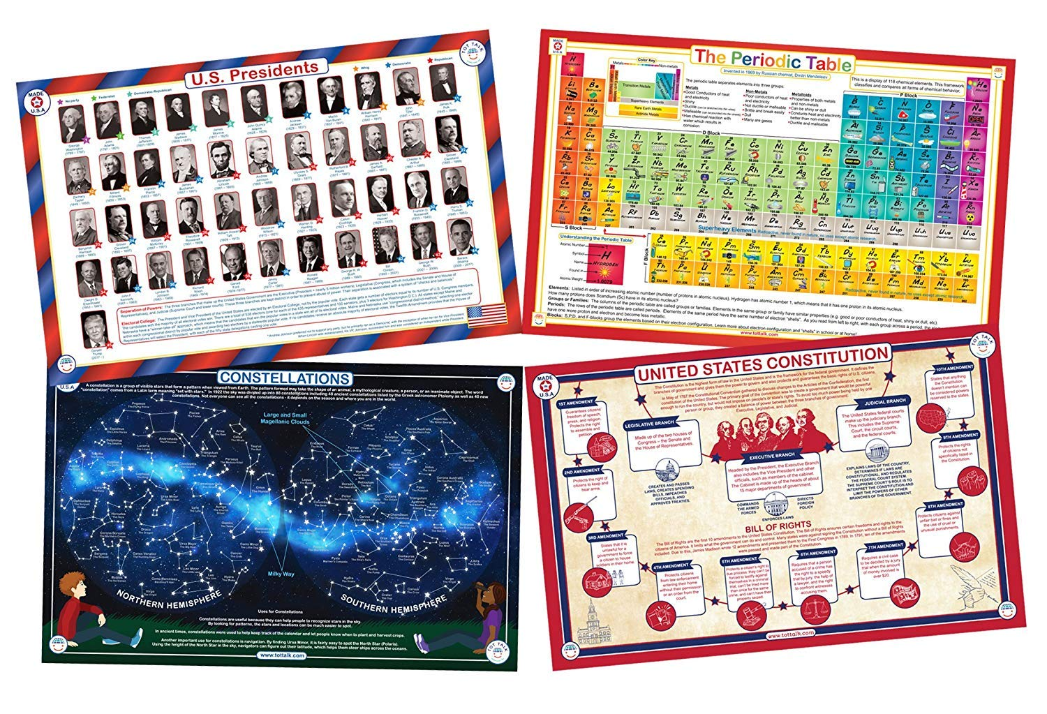 Tot Talk Educational Placemats for Teens- Set of 4 Table Mats: Presidents, Periodic Table, U.S Constitution, Constellations- Reversible Activities- Waterproof, Washable, Wipeable, Durable, USA-Made