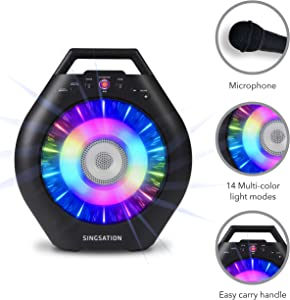 Portable Karaoke Machine for Kids & Adults - Singsation Burst Deluxe - Comes w/Mic, Phone Stand, Color Changing Light Ring & Works via Bluetooth – No CD Needed - YouTube Your Favorite Karaoke Songs