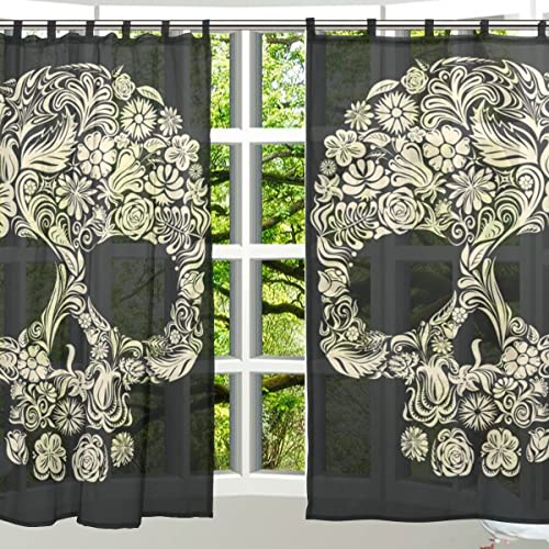 ALAZA 2 PCS Window Decoration Sheer Curtain Panels,Cool Skull,Polyester Window Gauze Curtains Living Room Bedroom Kid's Office Window Tie Top Curtain 55×78 inch Two Panels Set