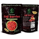 Premium Extra Large Chewy Goji Berries 6oz (170g) - USDA Organic and Canadian Organic Certified