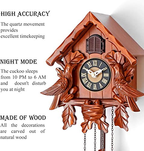 Polaris Clocks Cuckoo Clock with Night Mode, Singing Bird, Wooden Decorations and Swinging Pendulum Cherry