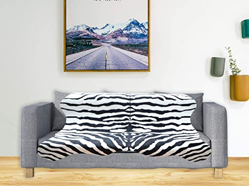 Ivalue Zebra Print Area Rug Faux Zebra Hide Soft Fluffy Fur Throw Rug Fluffy Floor Carpet Rug Mat for Living Room Bedroom 4.6ft x 5.2ft, Black