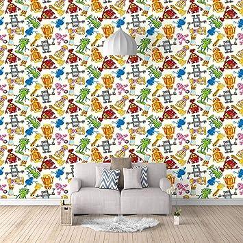 Papel Pintado Fotomural Robot de color Mural de seda Fondo ...