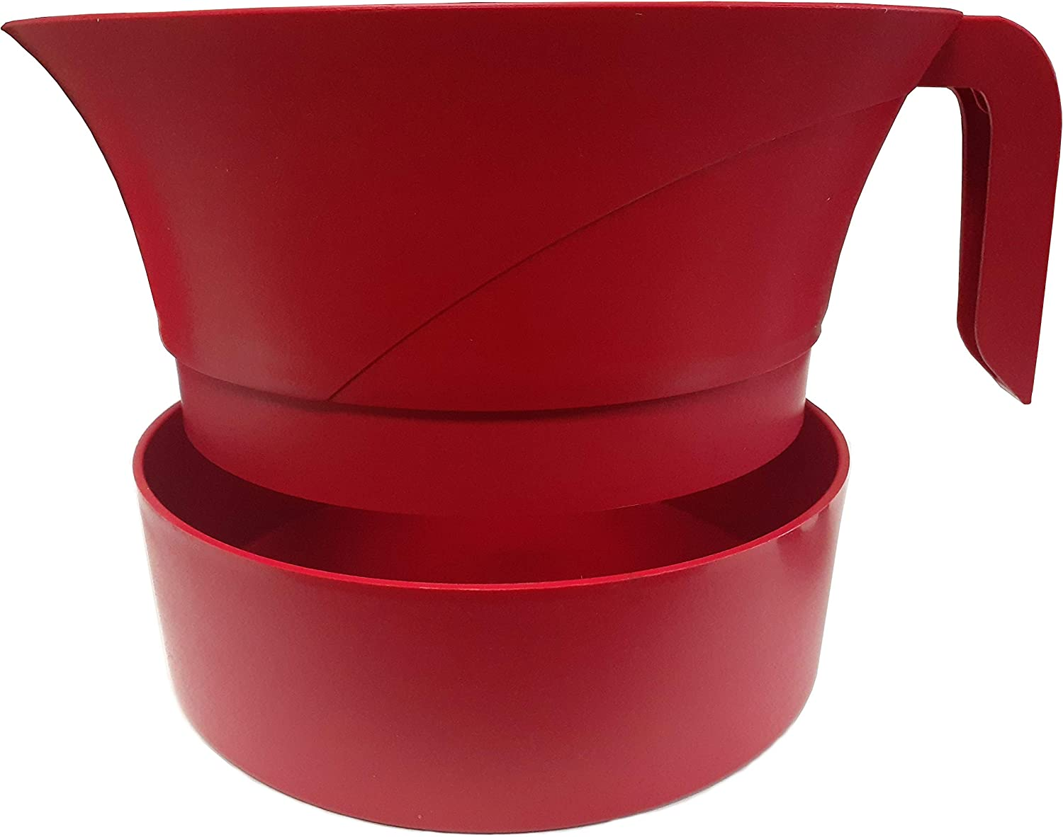 PaperlessKitchen Meat Strainer Heat Resistant Plastic Ground Beef Grease Easy Colander - Serves Up to 3lbs of Meat, Pasta, Vegetables & Jellies - 3 Pcs Set (Red)