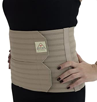 ITA-MED Womens Breathable 9 Inch Wide Post-Partum Abdominal Support Binder, Beige
