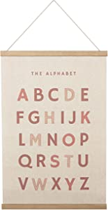 Bon et Beau 16×24 Inch Embroidered Alphabet Poster with Wood Poster Hanger - Dusty Pink Wall Decor for Girls Nursery, Bedroom and Playroom