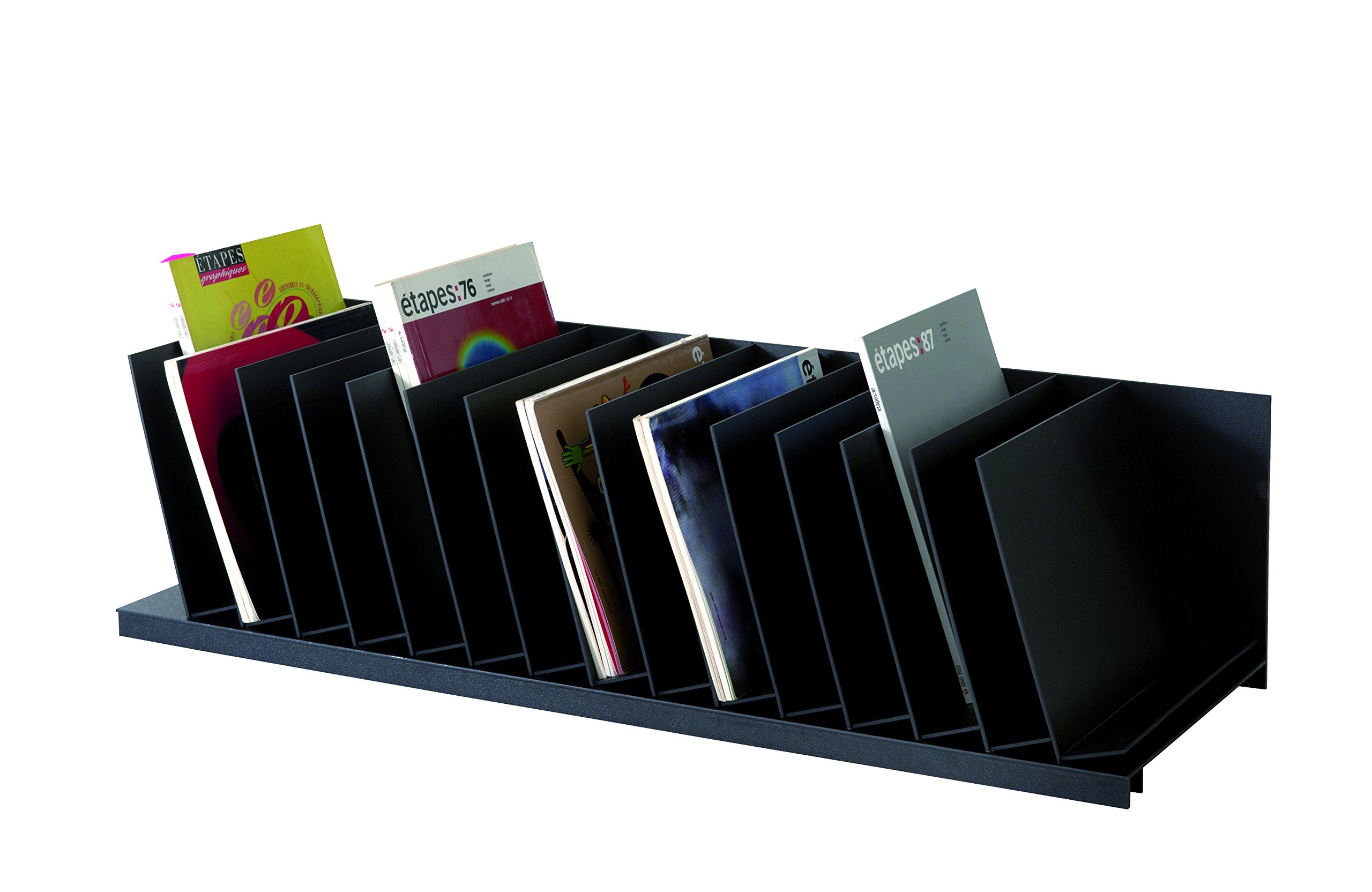 PaperFlow 44-Inch Inclined Vertical Desktop Organizer, 20 Compartments, Black (2041.01)