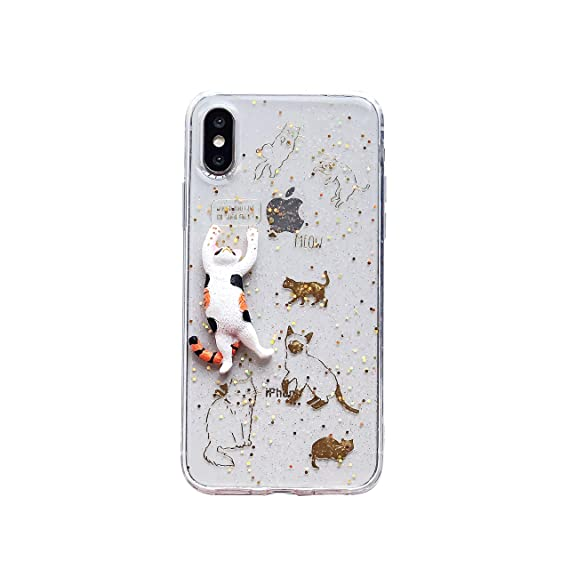 For Iphone X Xs Case Unique Cute 3d Cat With Gold Cat Stickers Background Glitter For Girls Women Clear Transparent Soft Silicone Case