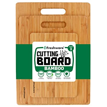 Cutting Boards for Kitchen [Bamboo, Set of 3] Eco-Friendly Wood Cutting  Board for Chopping Meat, Vegetables, Fruits, Cheese, Knife Friendly Serving  ...