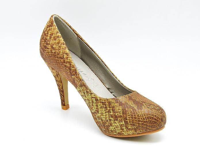 1a3dad361ce32 SHT00   Escarpins Imprimé Animal et Style Ecailles Chic avec Bout Rond - Mode  Femme (37)  Amazon.fr  Chaussures et Sacs
