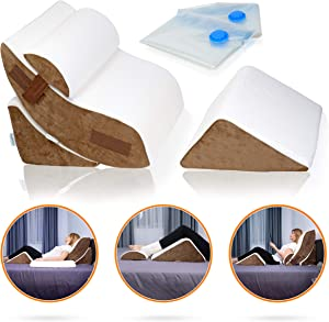 Lunix 4pcs Orthopedic Bed Wedge Pillow Set, Post Surgery Memory Foam for Back, Neck, Leg and Knee Pain Relief. Sitting Pillow, Comfortable and Adjustable Pillows for Acid Reflux and GERD for Sleeping