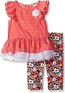 Little Lass Toddler Girls Stripe Ruffled Crepe Top /& Capri 2pc Outfit Set 3T