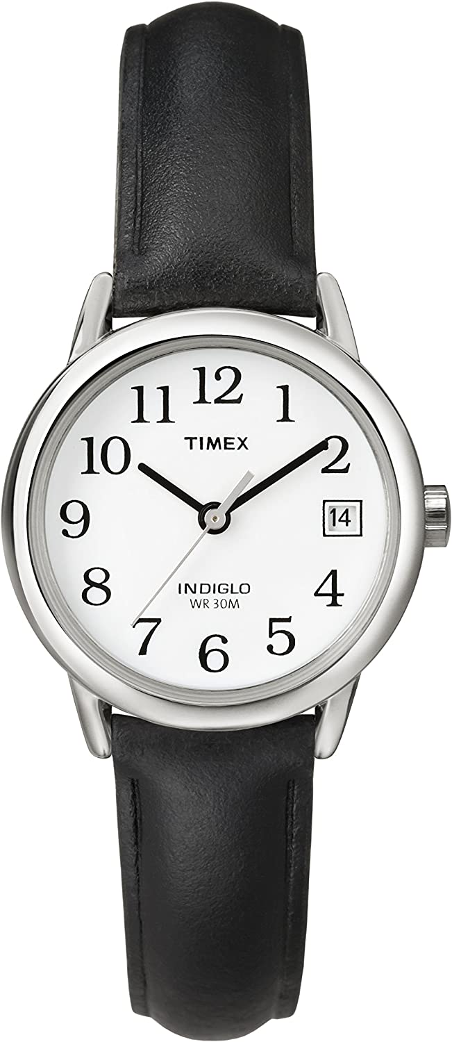Timex Women s Indiglo Easy Reader Quartz Analog Leather Strap Watch with Date Feature