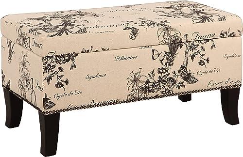 Linon Stephanie Ottoman, Botanical Linen