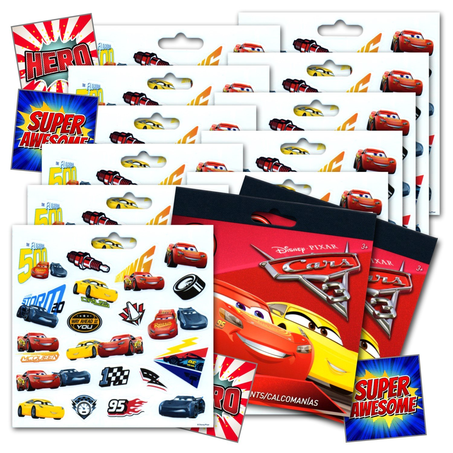 Disney CARS 3 Movie Cars Stickers Party Favors Bundle of 12 Sheets 240 Stickers plus 2 Specialty Stickers