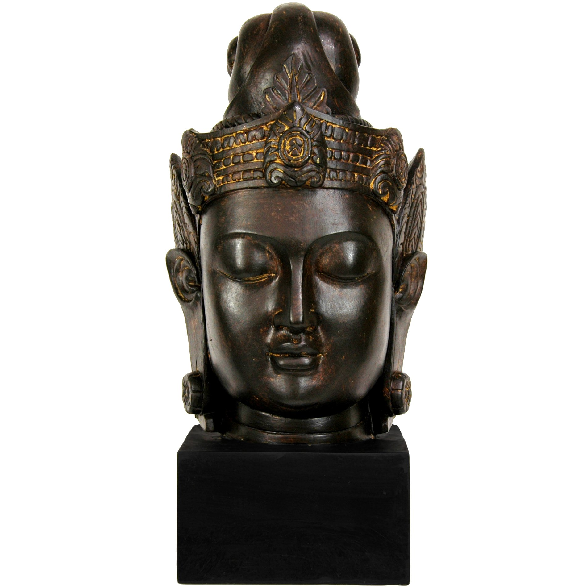 Oriental Furniture 16'' Cambodian Buddha Head Statue by ORIENTAL Furniture