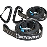 LiteSpeed 11 ft. Hammock Tree Straps With Climber-rated Wiregate Carabiners Included- Easy, Adjustable Cinch Buckle System. No More Loops. Strong, Lightweight, Pure Polyester.