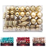 AMS 72ct Christmas Ball Assorted Pendant Shatterproof Ball Ornament Set Seasonal Decorations with Reusable Hand-help Gift Boxes Ideal for Xmas, Holiday and Party(72ct, Gold)