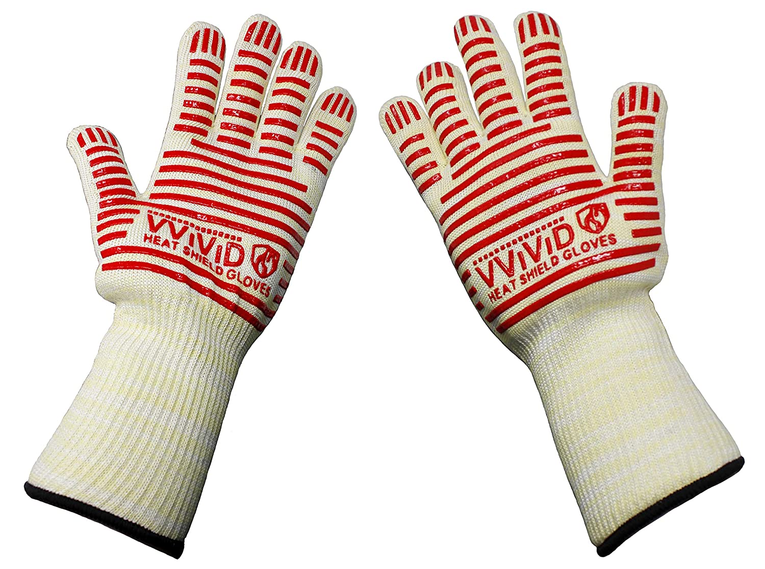 VViViD Heavy-Duty High Heat Resistance Silicone Grip Long Protective Gloves for Ovens, Grills & Smokers