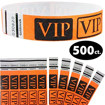 Yellow VIP Stars TYVEK Wristbands 500 in a pack