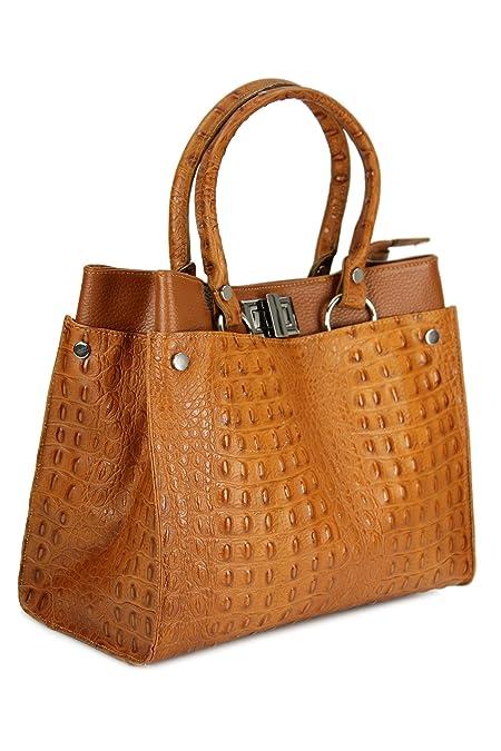 ceb04d6a89f43 Belli Set 3in1 BORSE IN PELLE cognac braun - Echt Leder Handtasche cognac  Kroko Prägung + Kosm. Tasche + Tuch  Amazon.de  Schuhe   Handtaschen