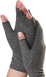 Dr. Frederick's Original Grippy Arthritis Gloves for Women & Men - Anti-Slip Compression Gloves for Arthritis Pain Relief - Rheumatoid & Osteoarthritis - Small