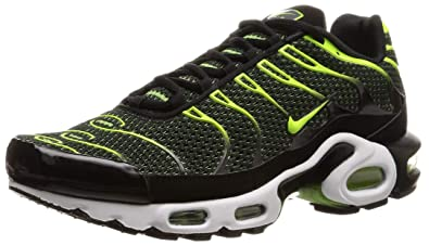 Nike Men s Air Max Plus Black Volt Dark Grey White Mesh Running Shoes ae8c28c0fe48