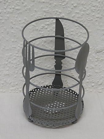 Deko Besteck Korb Metall grau 15 x 10 cm: Amazon.de: Küche & Haushalt