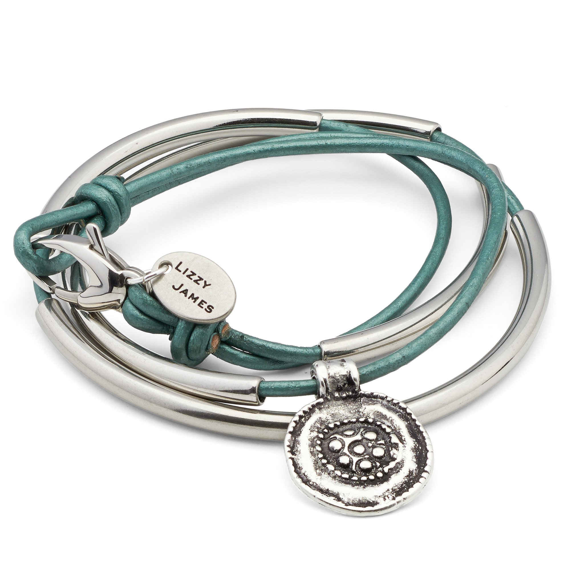 Mini Santana XXLarge Bracelet With Metallic Teal Leather by Lizzy James