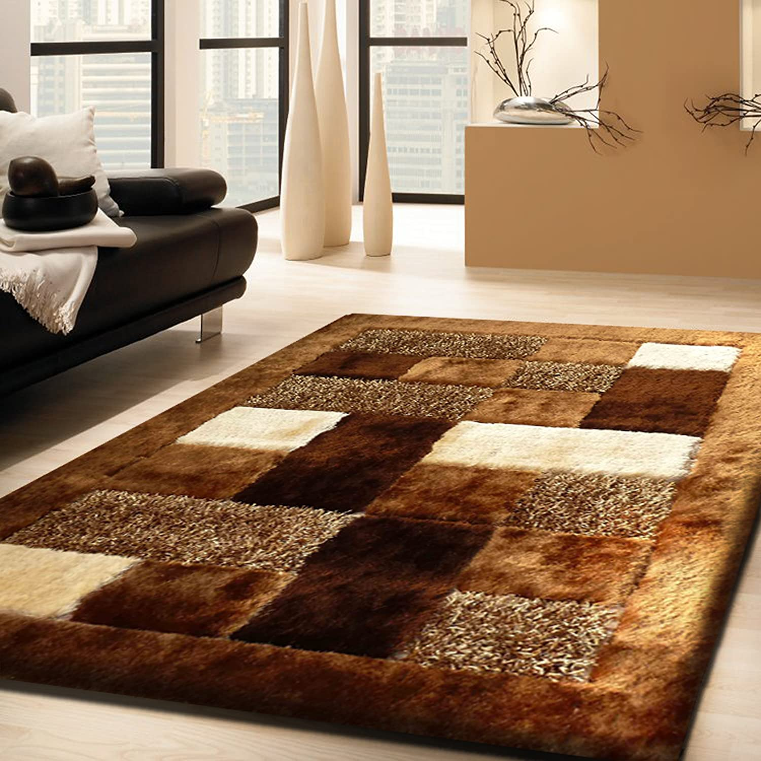 Amazon.com: Admirable Shaggy Viscose #30 Brown Living Room Area ...