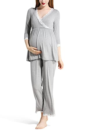 Molliya Womens Maternity Nursing Nightdress Sleeveless for Breastfeeding Nightie