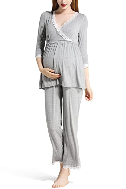 Molliya Mujer Pijama Premamá Embarazo Lactancia con Encaje Manga Larga Maternidad Ropa de Dormir,Gris