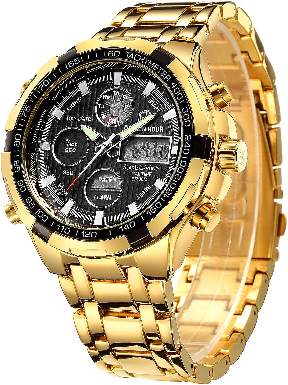 Relojes para Hombre Manera Reloj cronógrafo Pesado del Deporte del Acero Inoxidable Alarma de la Fecha Impermeable Reloj análogo Multifuncional de Digitaces