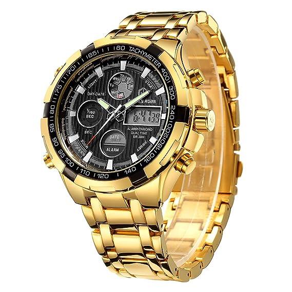 Relojes para Hombre de Lujo de la Manera Reloj cronógrafo Pesado del Deporte del Acero Inoxidable Alarma de la Fecha Impermeable Reloj análogo ...