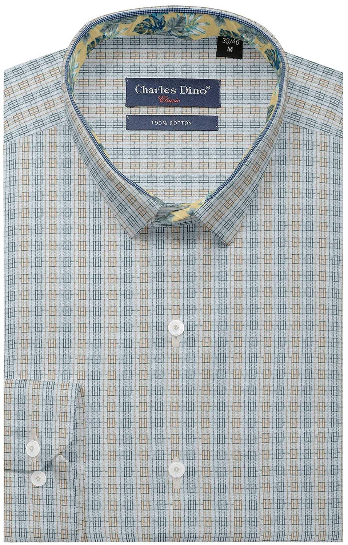 7b72dfdba84 Charles Dino 100% Giza Cotton Mens Slim FIT White Brown Checkered Shirt for  Formal WEAR