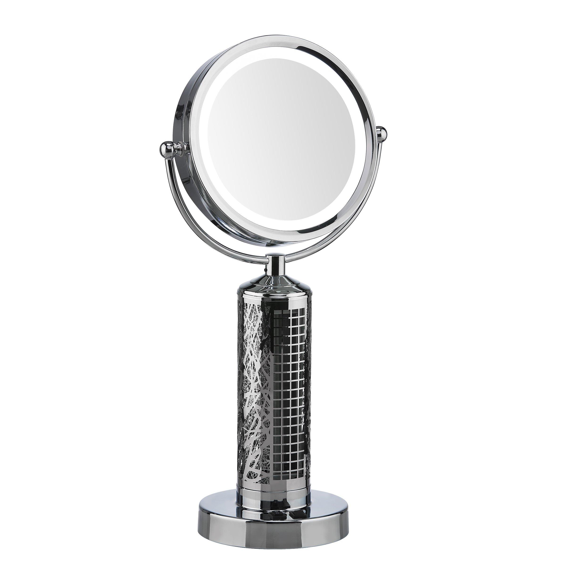 Fanity Two-Sided Magnifying Lighted Makeup Mirror Vanity Mirror with Built-In Two Speed Cooling Fan Air Circulator, 10x Magnification